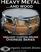 Organic Custom Drums announces OverSize snares featuring limited edition Modular Floating Shells