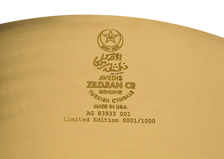 Each 23' A Custom 25th Anniversary Ride cymbal is uniquely numbered and personally signed by Craigie Zildjian