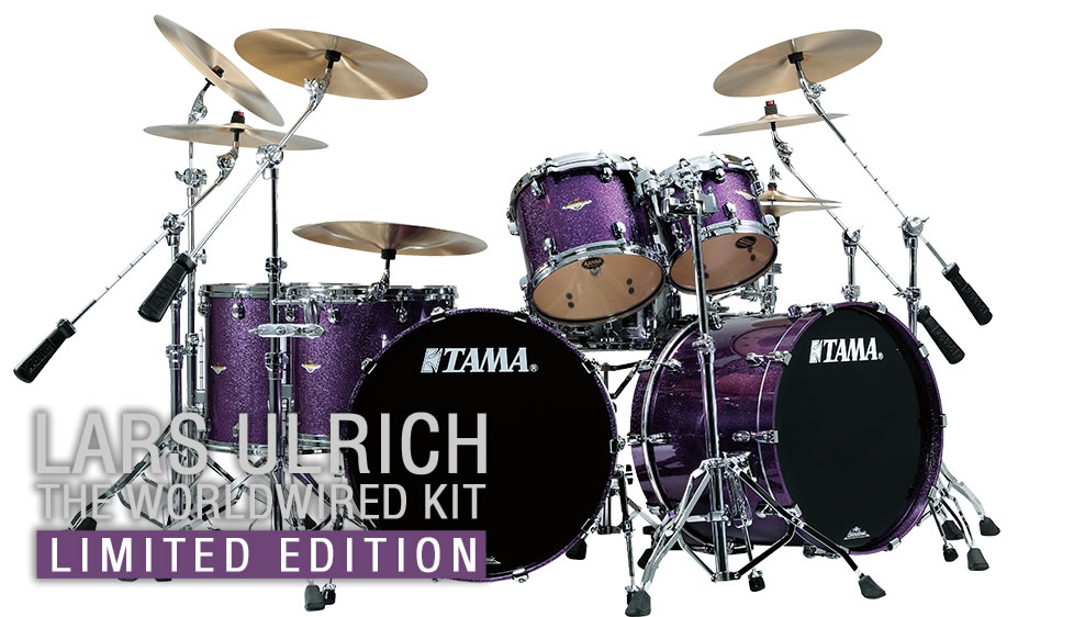 Lars Ulrich\'s Worldwired Limited Edition drum kit - Six piece Tama drum set in Deeper Purple finish