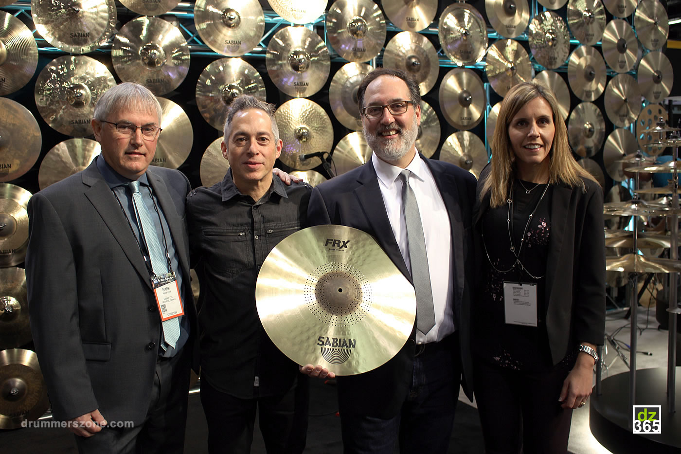 The proud Sabian team at Winter NAMM 2018: fltr Mark Love, Luis Cardoso, Andy Zildjian and Stacey Montgomery-Clark
