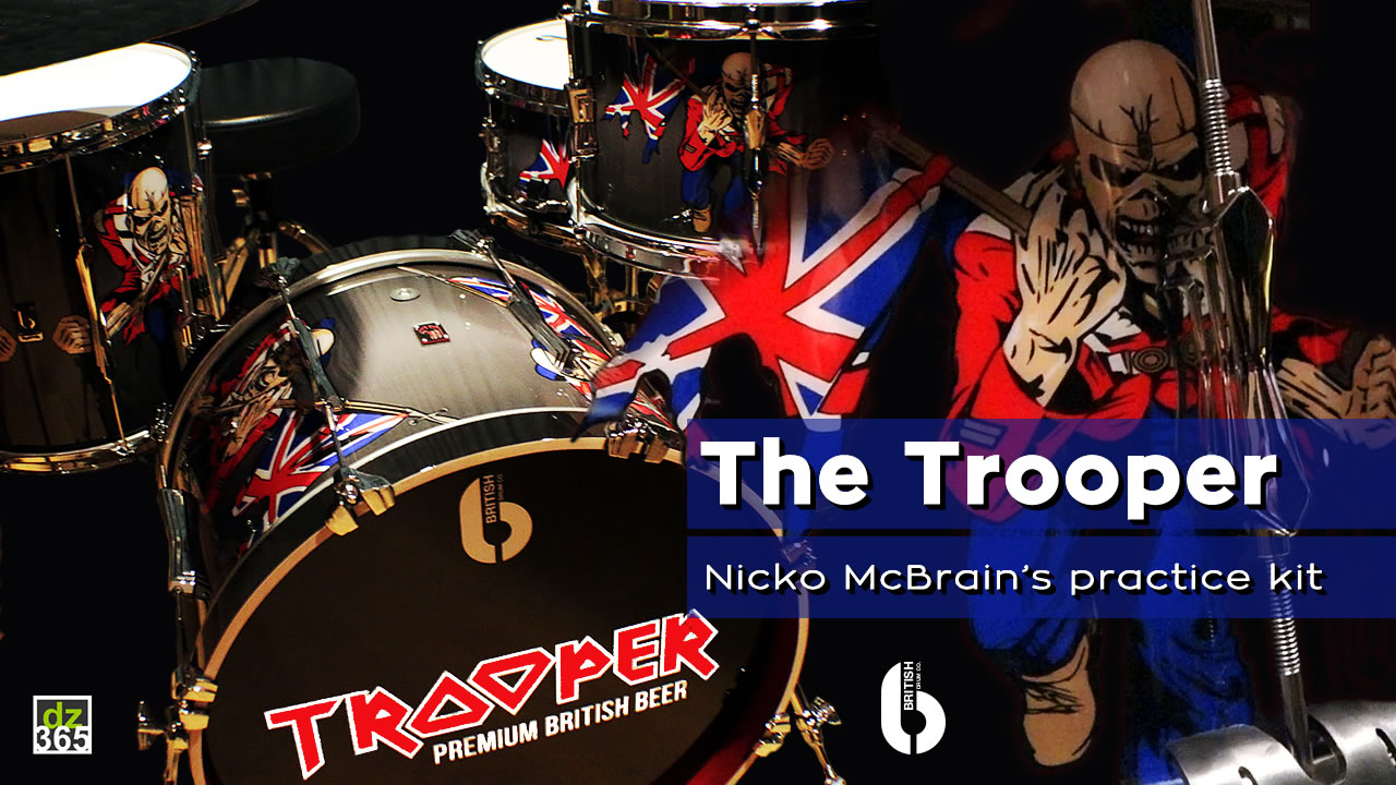 Nicko McBrain presents The Trooper - also his British Drum Co. practice kit on tour