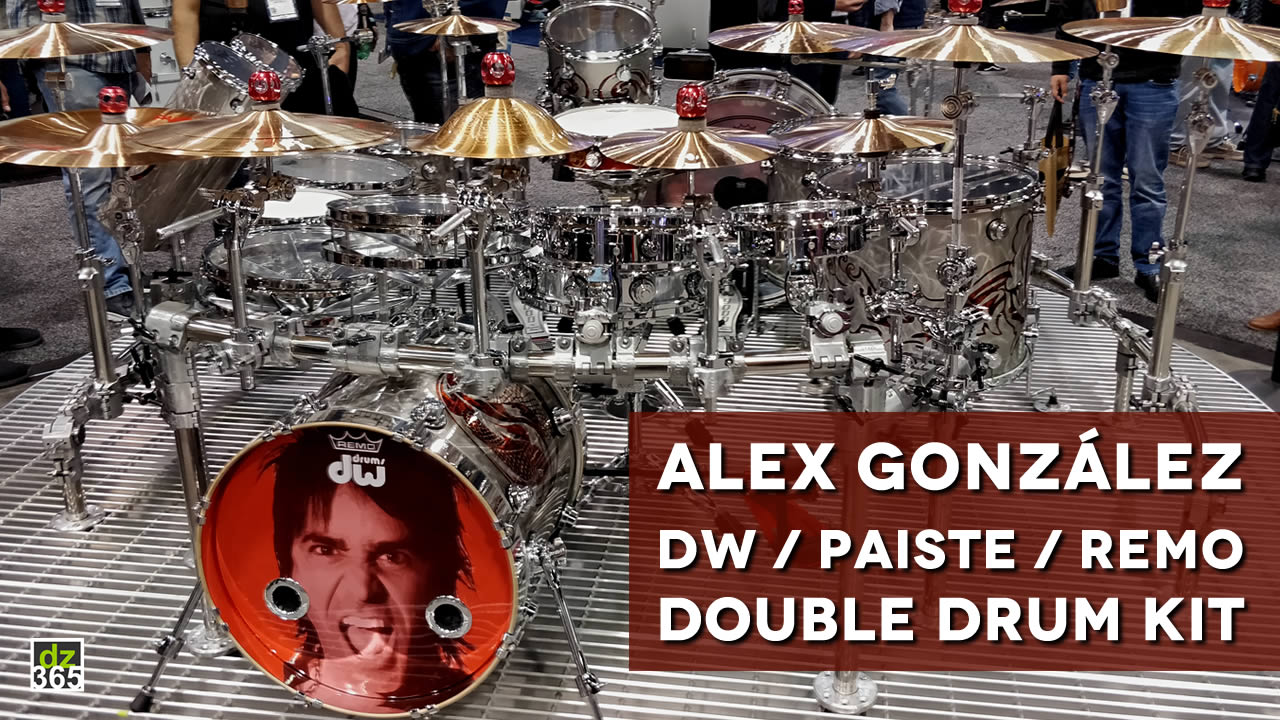 Alex González' extreme Maná tour kit from DW Drums, Paiste cymbals and Remo drumheads